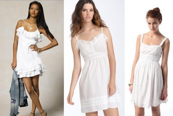 На фото три модели коротких белых сарафанов