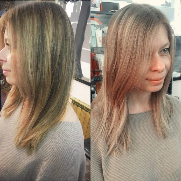 Мелирование на отросшие корни осветленных волос